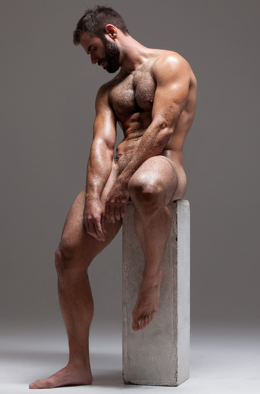 Gay art bodybuilder nude naked male digital painting print queer pride
